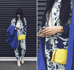 Willabelle Ong - Cameo The Label Filigree Print Blazer, Cameo The Label Filigree Print Trousers, Lacambra Yellow Leather Sling, Wish Cobalt Coat - Filigree