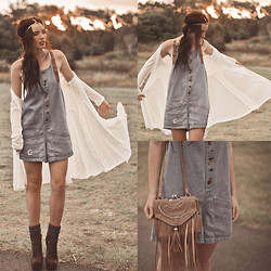 Elle-May Leckenby - Ellie Brown Fringed Sling Bag, Sheinside Leather Strapped Denim Playsuit, Sheinside Gold T Bar Head Piece, Sheinside White Draping Cardigan, Brown Lace Up Pumps - We are young, we run free