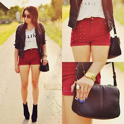 Pam S - Zara Jacket, Vesst Shorts - Burgundy shorts
