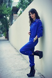 Susanna Vesna - Swarovski Dark Blue Overall With Crystals, Jeffrey Campbell Zany Black Embroidery - Overalling