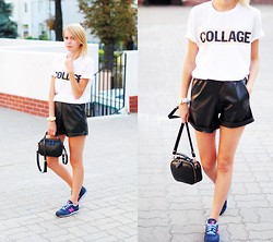 Johanna K. - Parfois Watch, New Balance Sneakers, Mosquito Shorts - COLLAGE TEE AND LEATHER SHORTS