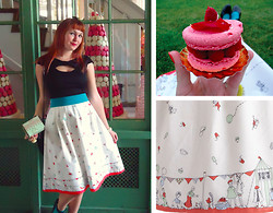 Lilly Pink - Black Top, Poppy Birthday Bash Skirt, Teal Belt, Ladurée Raspberry Macaron, My Blog - A Day in Covent Garden