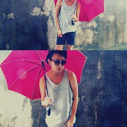 Anthony Shieh - 711 Umbrella, Tank Loose Grey Vest, Mint Pop Eye Sunglass, Ramp Shorts - Let Love Rain Down on Me.