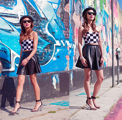 Leslie Corpuz - Forever 21 Checkered Bustier, Forever 21 Ombre Transparent Heels, Topshop Pork Pie Hat - Check Her Out
