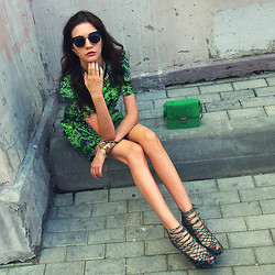 Anna Brain - Minusey Safari Print Dress, Tsumi Jewelry Necklace, Persun Bracelet, Persun Ring, Oasap Sunglasses - NEON JUNGLE