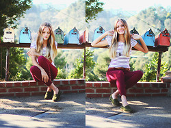 Heather Bybee - H&M Striped Tee, Forever 21 Maroon Pants, Rope And Canvas Olive Green Slip Ons, Target Belt - You've got mail