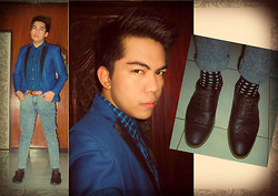 Jace Amornkuldilok - Mint Blue With Black Lapel Blazer, Bny Blue Plaid Button Down Shirt, Markus Skinny Denim Pants, Milanos Brown Brogues, Bench Polka Dot Socks - A Little Bit Of Quirk