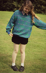 Alice Larke - Vintage Jumper, Topshop Velvet Shorts, Jemporium Vintage 90's Shirt, Dr. Martens 1461 Black Shoes - 20.08.13