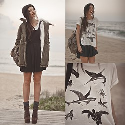 Elle-May Leckenby - 8 Tales T Shirt, Khaki Soft Hooded Coat, Khaki Backpack, Junk Black Pinafore - Tales of the Sea