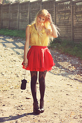 Charmeuse - Vancl Mustard Shirt, Vancl Red Skirt, Deezee Litas - With or without you