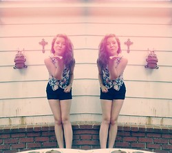 Chloe Ruth - Goodwill Floral Vest, Forever 21 High Waist Black Shorts - Lol, like idk