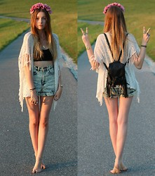 Astrid H - American Apparel Shorts, H&M Backpack - A day without sunshine is like, you know, night.