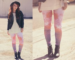 Victoria Emi - C&A Leather Jacket, Choies Galaxy Print Legging, Mr. Cat Ankle Boots, Renner White Sweater - Galaxy to love