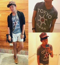 Anthony Shieh - Kyoto Tokyo Japan Top, Terranova Shorts, Calculus Cap, Msense Spike Studded Bracelet, Fossil Wristwatch, Street Is The Stage Sling Bag, Milanos Loafers, Oxygen Cardigan - Tokyo tokyo, pay in the palms of rock'n'roll.
