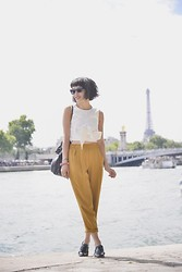 Leeloo P - Asos Top, Zara Trousers, Asos Derbys - Parisian summertime