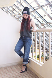 Cindy C. - Dimepeice Beanie, Obey Muscle Tank, American Eagle Boyfriend Jeans, Lulu's Heels - We are who we are.