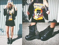Laura J. - Zara Leatherjacket, Jeffrey Campbell Spiked Boots, Levi's® Shorts, Band Shirt: Sleeping With Sirens, Ray Ban Sunglasses - 08212013