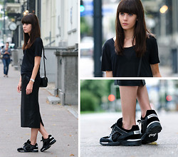 Lucy De B. - Leather Pencil Skirt, Chanel Sneakers - First Spin