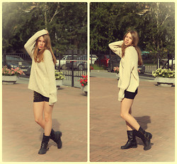 Zhanna Kessel - Father's Old Sweater, Mango Black Shorts, New Look Black Leather Boots - YONG AND BEAUTIFUL