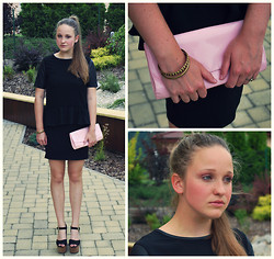 Klára P. - H&M Black Leather Sleeved Top, A Present Metal Bracelets, Elle Pink Purse, H&M Fox Ring, Topshop Black Wedges, H&M Black Pencil Skirt - Black is the new black