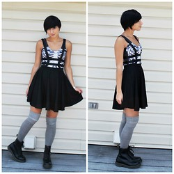Sabrina B - Black Milk Clothing Skeleton Bodysuit, Choies Cage Skirt, Urban Outfitters Knee Highs, Dr. Martens - Black Milk Love