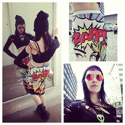GlitterFace X - Swan Center, Rathmines Comic Print Skirt €10, E Bay Lennon Shades €3, E Bay Black Beanie €2 - Comicbook Junkie