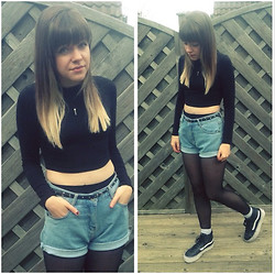 "Natasha Hide - Frontrowshop Crop Top, Ebay Vintage Denim Shorts, Vans Sk8 Hitop - "" black n denim."""