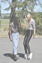 Cressie H. - Disco Pants, Converse Thick, New Yorker Crop Top, New Yorker Crop Top, Vintage Denim Jeans, Doc Marten's - Just me and my friend being weird