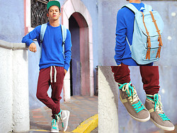 David Guison - Herschel Supply Co. Steel Blue Little America Rucksack, Pony Sneakers, Penguin Sweatshirt, Obey Snapback - Comfy in Sweats