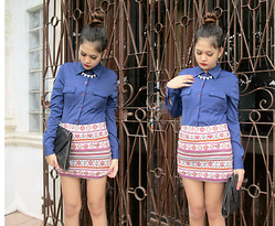 Ella Sunga - Forever 21 Necklace, Aztec Print Skirt, Palladium Envelope Clutch - Drama queen