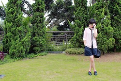 Yunita Yapi - New Look Black Oxford, Vanguard Black Camera Bag, Navy Short, Cream Blouse, Black Sunglasses - Graphic Designers are HUMANS too, they needs HOLIDAY ! :D