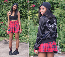 Melanie Patterson - H&M Bustier, H&M Pleated Skirt, American Apparel Knee High Socks, T.U.K. Mondo Creepers, Snap Back, Nasty Gal Girls Night Bomber Jacket, Nasty Gal Like Sugar Satchel - H&M 50 States of Fashion - Rhode Island - Look 2