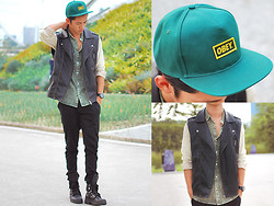 David Guison - Trilogy Boutique Snapback, Forever 21 Vest, Skytop Philippines Moss Button Down, Palladium Boots - Mossy Green