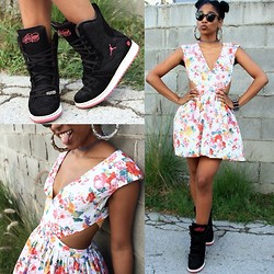 Robyn The Bank - Shopsincerely Styles Flower Bomb Dress, Jordan Jordan's - Florals & J's