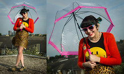 Kelsey R. - Vintage Leopard Skirt, Slut Shop Smiley Face Top, H&M 90's Cardigan, Diy Jewelled Sunglasses, Robert Crumb Pin, Underground Shoes Leopard Pony Hair Creepers, Gold Hoops, Happy Harriet Leopard Bag - Chasing rainbows