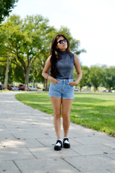 Tenzin Tsepel - Thrifted Top, Diy Shorts, T.U.K. Shoes, Forever 21 Sunglasses - DISTRICT