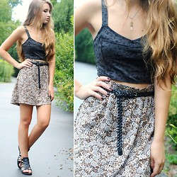 Lauren Oberlin - Ursus Crystal Necklace, Pacsun Gray Eyelet Top, Thrifted Floral Skirt - THIS HOME ISN'T HOME TO ME