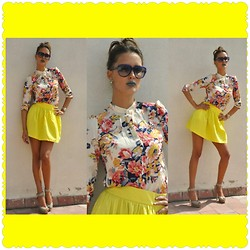 Amina Allam - Marc By Jacobs Sunnies, Choies Flower Print Shirt, Zara Skirt, Fendi Sandals - Make great things happen today