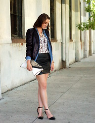 Kate Schneider - Zara Sequin Blazer, Forever 21 Printed Shirt, H&M Embossed Skirt, Hype Python Print Clutch, Forever 21 D'orsay Pumps - More is more