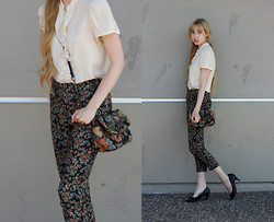 Audrey Riley - Topshop Tapestry Pants, Urban Outfitters Sheer Ruffle Blouse, Salvation Army Purse - Tapestry Pants & Purse