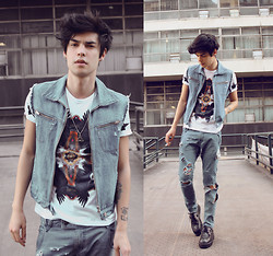 Vini Uehara - Choies White Tee With Birds And Stars Pattern, Jane & Rye Greenwich - There's No Salvation For a Bad Boy