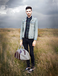Matt Fielding - New Look Tartan Shirt, Topman Denim Jacket, Topman Black Skinny Jeans, Vans Black, Fred Perry Blue/Maroon Weekend Bag - Thunderstorms