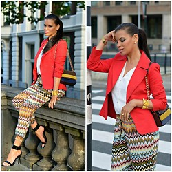 Tamara Chloe - Zara Blazer, H&M Bag, Supertrash Arm Cuff, Zara Heels, H&M Shirt - Aztec Print And Blazer Preppy