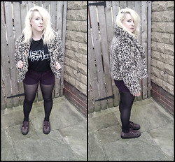 Leigh Freda - Leopard Print Jacket, Risen Prophecy Tee, H&M Purple Denim Shorts, Burgundy Creepers - Risen Prophecy