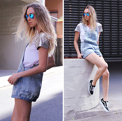 Stephanie Kramer - Stüssy Overalls, Vans, Staple The Label Metallic Tee - Beating heart