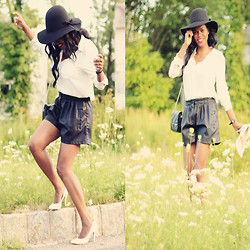 Rose L - Zara Leather Effect Shorts, H&M White Blouse, H&M Floppy Hat, Bcbg White Heels - Just Give Me A Reason