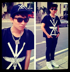 Akido Đỗ - Boy London T Shirt, Shoes, Topman Sunglass - Black & White