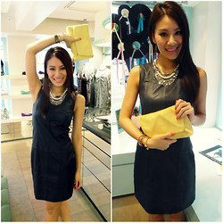 Joey Bellabel - Sambag Lynda Short Leather Dress, Sambag Nicole Pony Clutch, Venna Necklace - Timeless Leather
