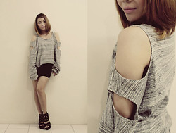 Giuliana Anastacio - Garage Manila Loose Top With Holes, Bazaar Black Peplum Skirt, Parisian Black Suede Wedges - HOLES OVER HOES