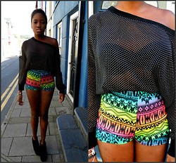 Vanessa M. - Cafe Society Aztec Shorts, Ebay Sheer Top - Buzz
